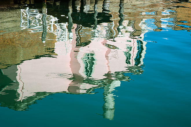 Reflections of Venice. The pink house, Murano