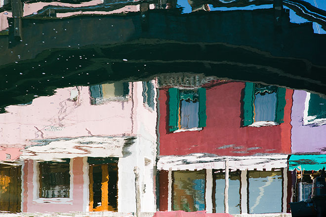 Reflections of Burano and Murano. Colourful Houses, Burano.